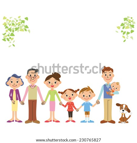 The good friend three-generation family who ties a hand - stock vector