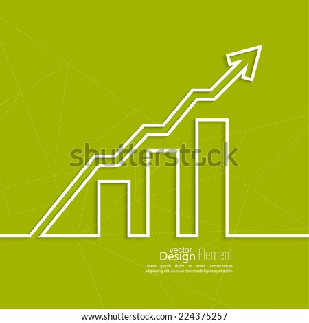 The graph shows the growth and profit. Income from a successful investment. Bank asset growth through profitable investments. green background - stock vector