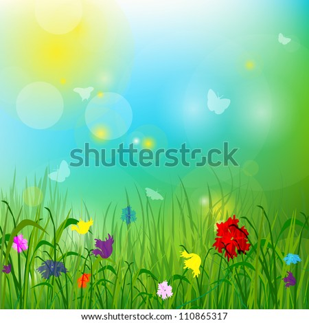 The grass, the sun, the flowers. Vector format EPS10, contains elements of transparency. - stock vector
