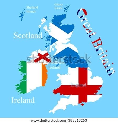The Great Britain map for each country  flag - stock vector