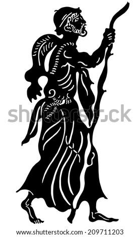 The Greek man with a stick - stock vector