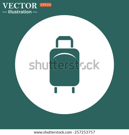 The green icon on a white circle on a green background. Baggage icon. Vector illustration, EPS 10 - stock vector