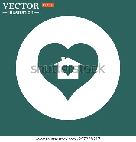 The green icon on a white circle on a green background. House with Heart Icon, vector illustration, EPS 10 - stock vector