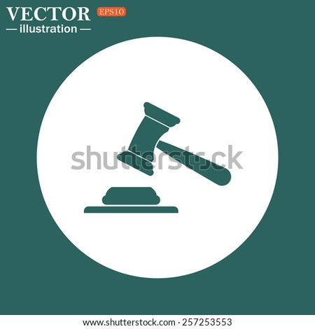 The green icon on a white circle on a green background. judge or auction hammer.  Vector illustration EPS 10 - stock vector