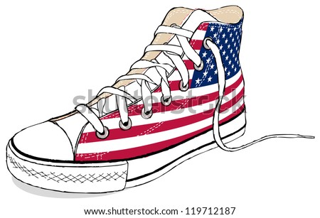The hand draw vector modern sport shoes with USA flag - stock vector