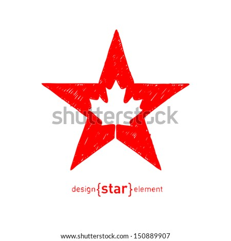 The hand draw Vector Star with Canadian maple Leaf - stock vector