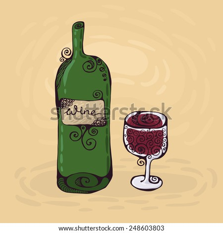 The hand-drawn illustration of the wineglass and bottle of wine.  - stock vector