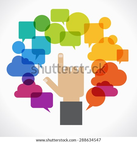 The hand of man is surrounded by the colored speech bubbles.  The concept of communication in a network.  - stock vector