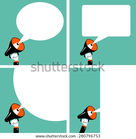 The hand of man with a megaphone and a blank white speech bubble. A set of four pictures. 