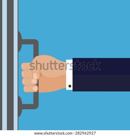 The hand opens the door - stock vector