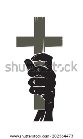 the hand with the crucifixion - stock vector