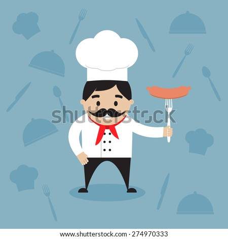 The happy chef holding the hot sausage on the fork. Vector illustration. Flat design - stock vector