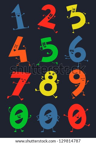 The Happy Numbers of Math - stock vector