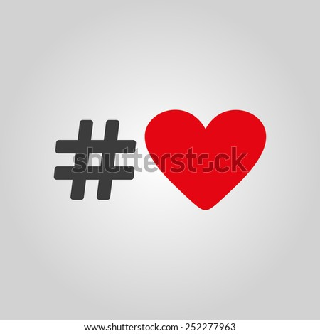 The hash love icon. Hashtag heart symbol. Flat Vector illustration - stock vector