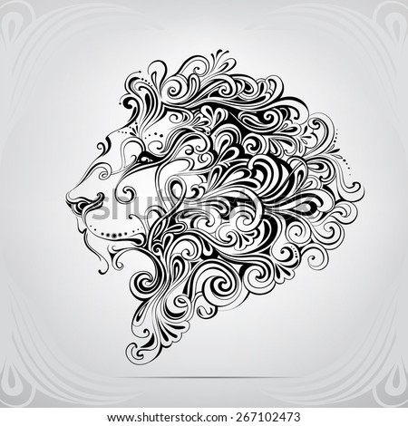 The head of a lion in an ornament - stock vector