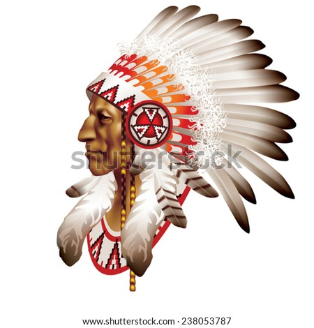 The head of an Indian chief in profile on a white background - stock vector