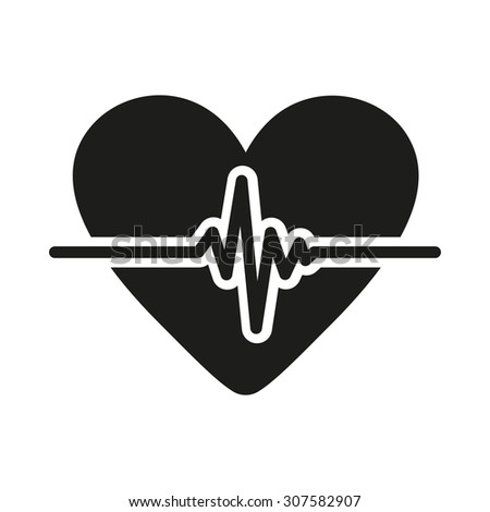 The heart icon. Cardiology and cardiogram, ecg, cardio symbol. Flat Vector illustration - stock vector