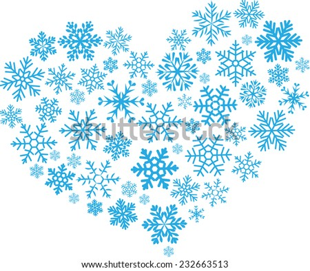 The heart is made up of a variety of carved blue snowflakes - stock vector