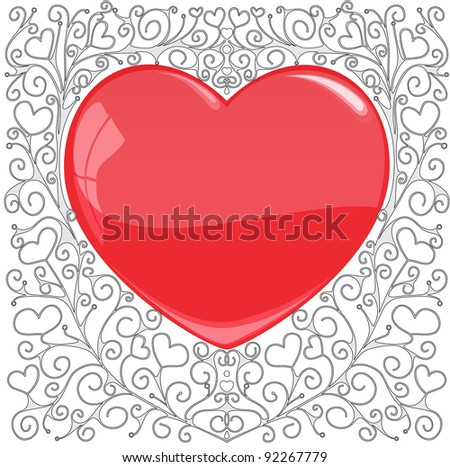 The heart on a hand-drawn patterned background - stock vector