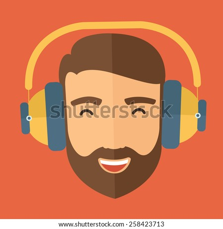 The hipster with a beard is listenning to music. Fun avatar concept. Vector flat design illustration. - stock vector