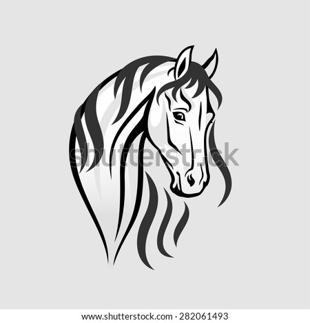 The Horse head in black and white - Illustration. The vector illustration ideal for a mascot, t-shirt graphic, emblem or logo. - stock vector