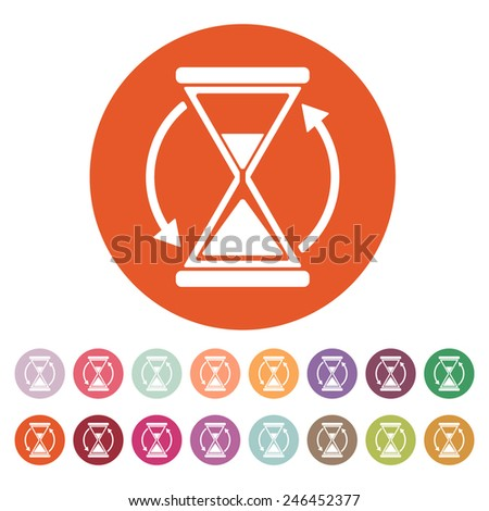 The hourglass icon. Clock symbol. Flat Vector illustration. Button Set - stock vector
