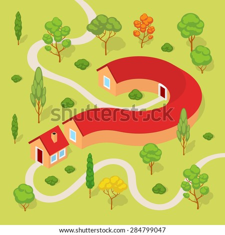 The house in the form of a question mark. Conceptual illustration suitable for advertising and promotion - stock vector