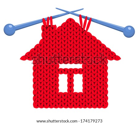 The house knitted on spokes. Vector illustration. - stock vector