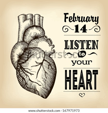 The human heart, illustration, card Valentine's Day - stock vector