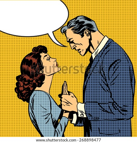 The husband and wife lovers have a serious talk love conflict pop art comics retro style Halftone. Imitation of old illustrations. Bubble for text - stock vector
