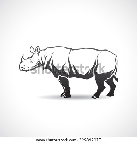 The icon with the image of a rhinoceros. - stock vector