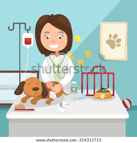The idea of female veterinarian curing illustration, vector - stock vector