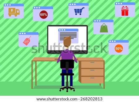the illustration dedicated to the  man with a computer .  - stock vector