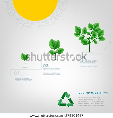 The illustration of beautiful bio infographics with growing tree scheme. Ecology vector image. - stock vector
