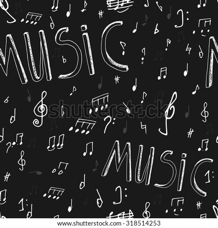 The illustration of beautiful black musical background with chalk handwriting. Sol-fa class blackboard. Totally vector fully scalable image with white handwritten text. - stock vector