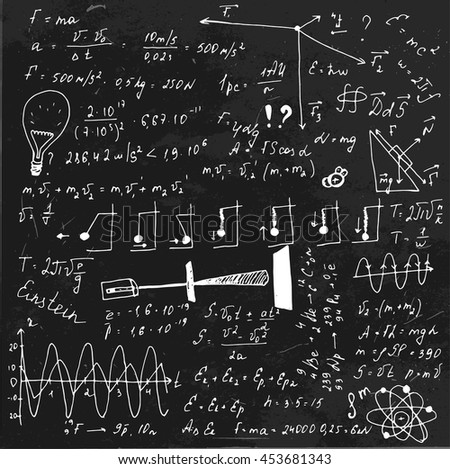 The illustration of beautiful black scientific background with chalk handwriting. Physical class blackboard. Totally vector fully scalable image with white handwritten text. - stock vector