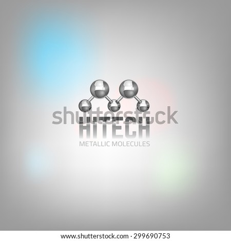 The illustration of beautiful vector graphic logo template with metal molecular symbol . Modern 3d scientific concept in silver tones for hi tech, digital, industrial or technical company. - stock vector