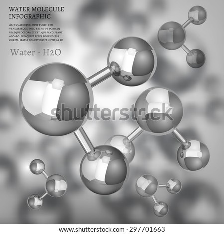 The illustration of bio infographics background with water molecule in metallic style. Ecology, biology and biochemistry concept. Totally vector image. - stock vector