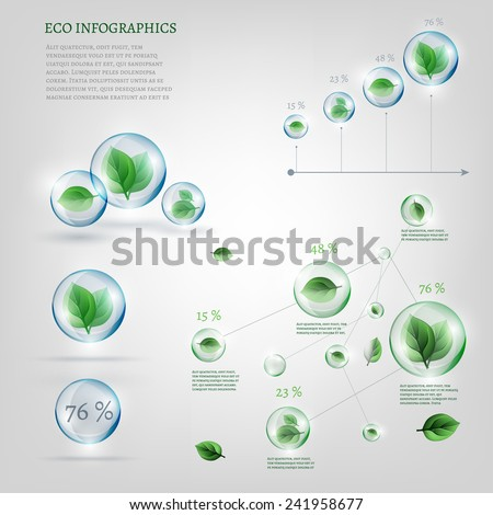 The illustration of bio infographics with green leaves in transparent bubbles. Ecology set. - stock vector