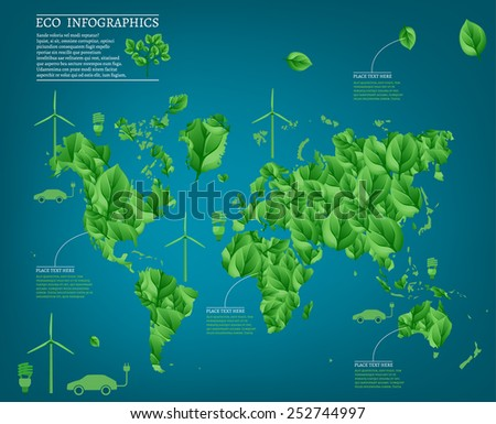 The illustration of ecological green world map. Vector image with infographic elements. - stock vector