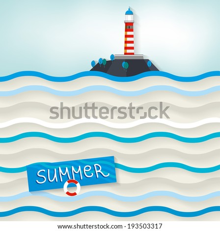 The illustration of lighthouse on the seascape. Vector image. - stock vector