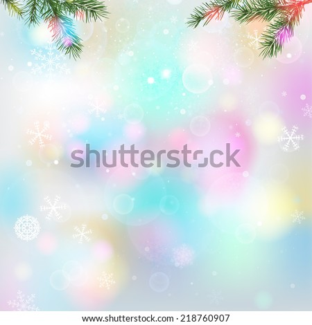 The illustration of magical snow Background with new year tree branches. Vector image - stock vector