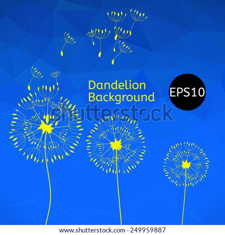 The illustration of three dandelions on a wind loses the integrity, blue polygonal background. - stock vector