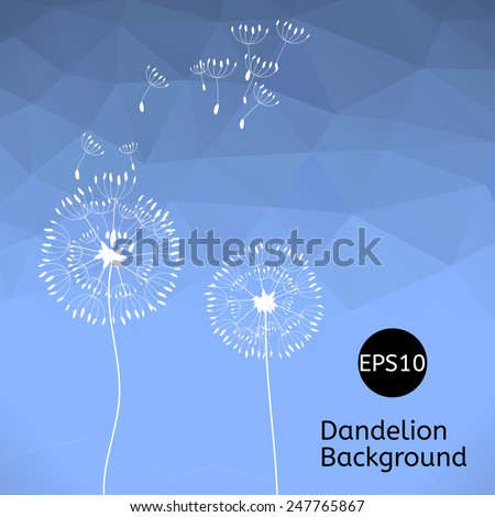 The illustration of two dandelions on a wind loses the integrity, blue polygonal background. - stock vector
