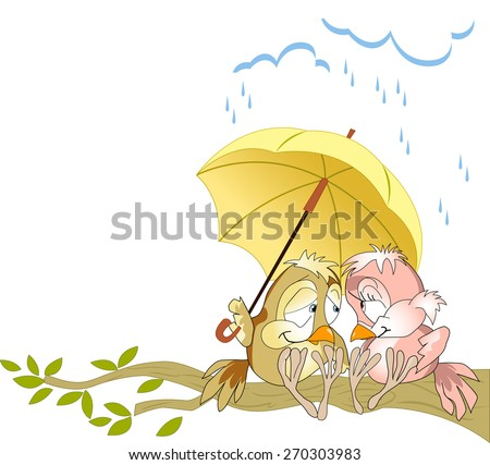 The illustration shows a couple in love birds sitting on a branch under a yellow umbrella. Illustration done as a funny card, in cartoon style, on separate layers. - stock vector