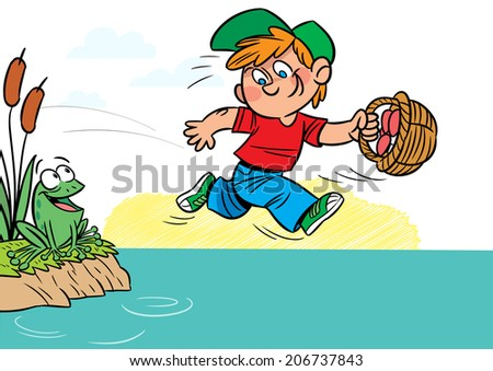 The illustration shows a funny boy with a basket of mushrooms in hands. He runs near the pond. Illustration done in cartoon style. - stock vector