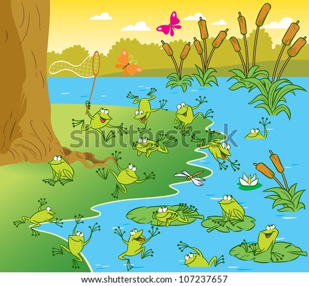 The illustration shows a pond with frogs on a sunny summer day. Picture made in cartoon style - stock vector