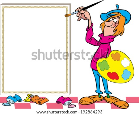 The illustration shows the cartoon artist with a brush in his hand, which is near the easel. - stock vector