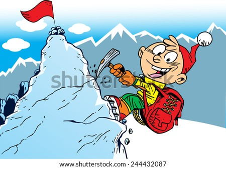 The illustration shows the climber who rises to the top of the mountain. Illustration done in cartoon style, on separate layers. - stock vector