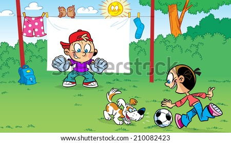 The illustration shows the funny cartoon children playing soccer and pranks.  Illustration done on separate layers. - stock vector